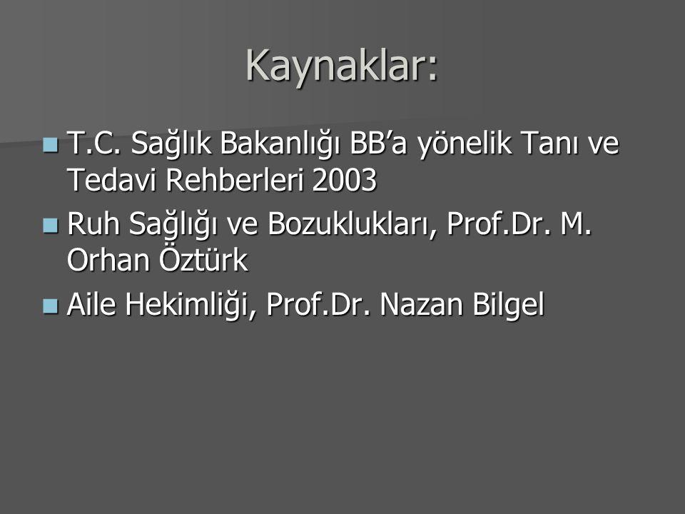 Kaynaklar: T.C. Sağlık Bakanlığı BB'a yönelik Tanı ve Tedavi Rehberleri 2003 T.C. Sağlık Bakanlığı BB'a yönelik Tanı ve Tedavi Rehberleri 2003 Ruh Sağ