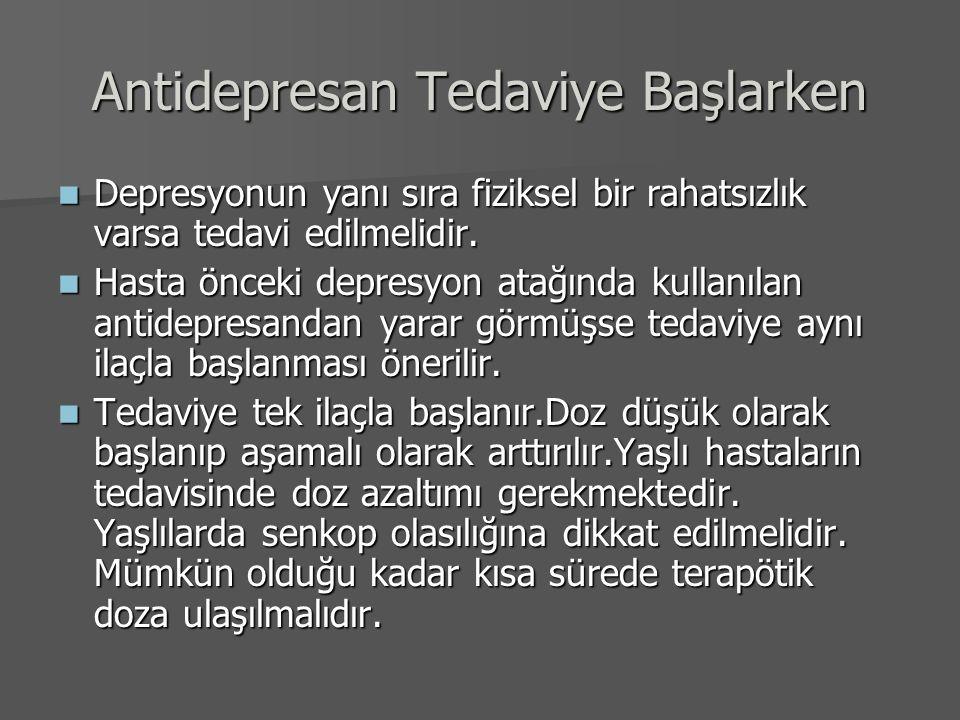 Antidepresan Tedaviye Başlarken Depresyonun yanı sıra fiziksel bir rahatsızlık varsa tedavi edilmelidir. Depresyonun yanı sıra fiziksel bir rahatsızlı
