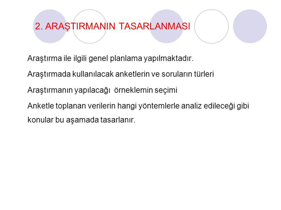 2.ARAŞTIRMANIN TASARLANMASI Araştırma ile ilgili genel planlama yapılmaktadır.