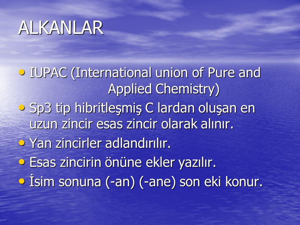 ALKANLAR IUPAC (International union of Pure and Applied Chemistry) IUPAC (International union of Pure and Applied Chemistry) Sp3 tip hibritleşmiş C la