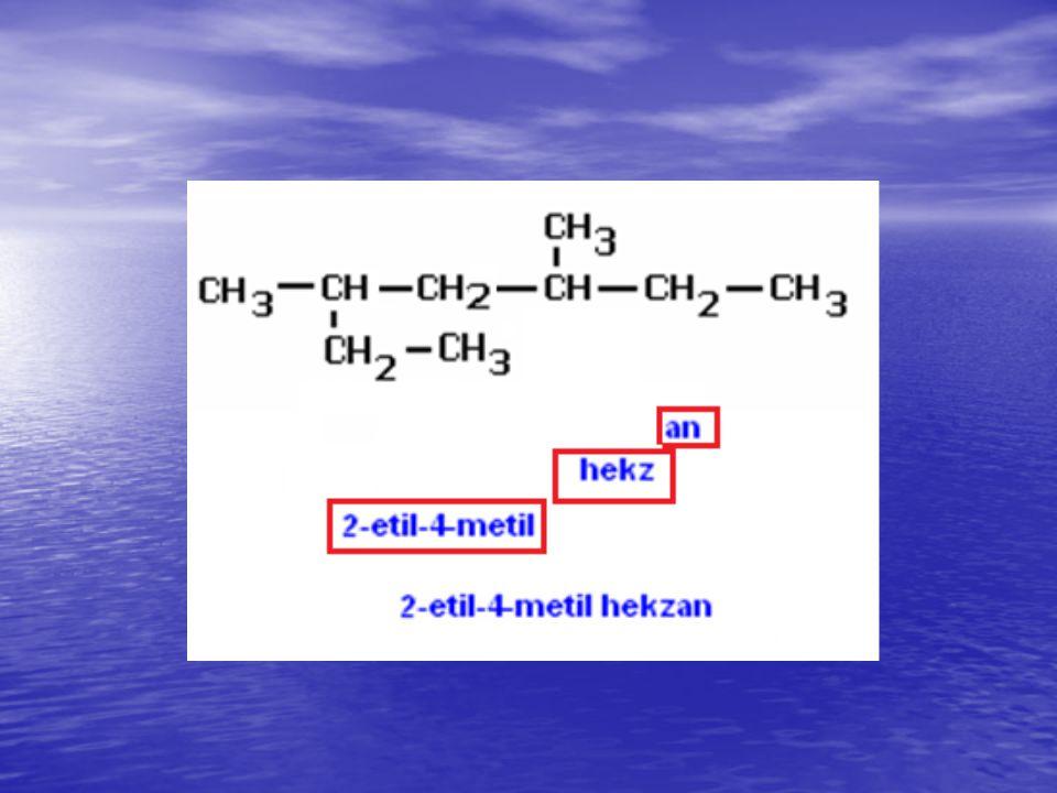 Alkenler (-en) (-ene) (-en) (-ene) Çift bağ asyısına göre –dien, -trien Çift bağ asyısına göre –dien, -trien