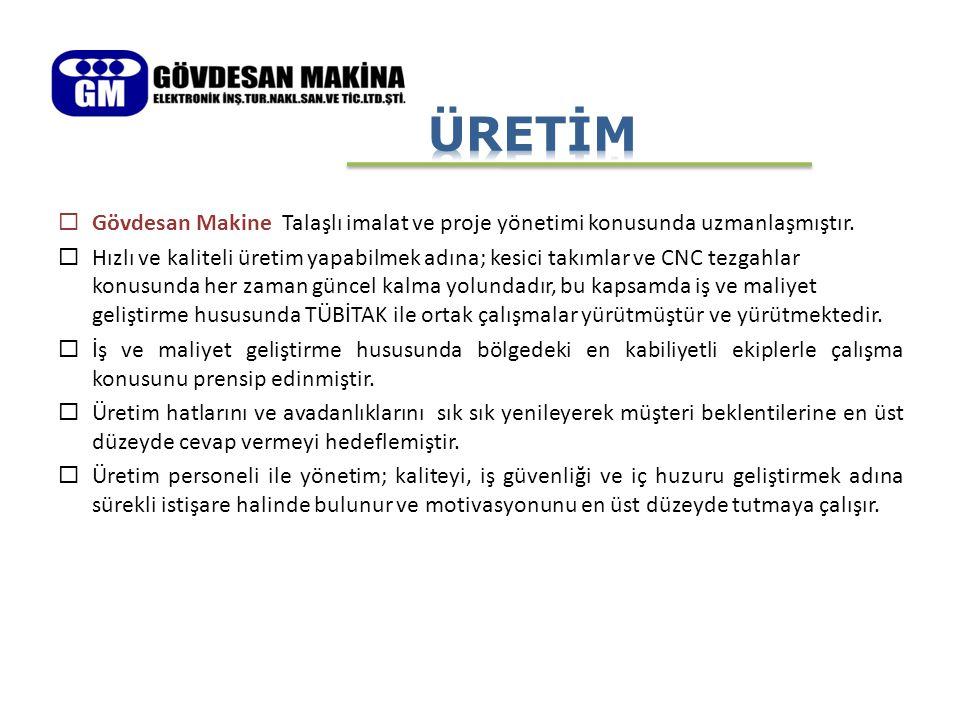  Gövdesan Makine Talaşlı imalat ve proje yönetimi konusunda uzmanlaşmıştır.