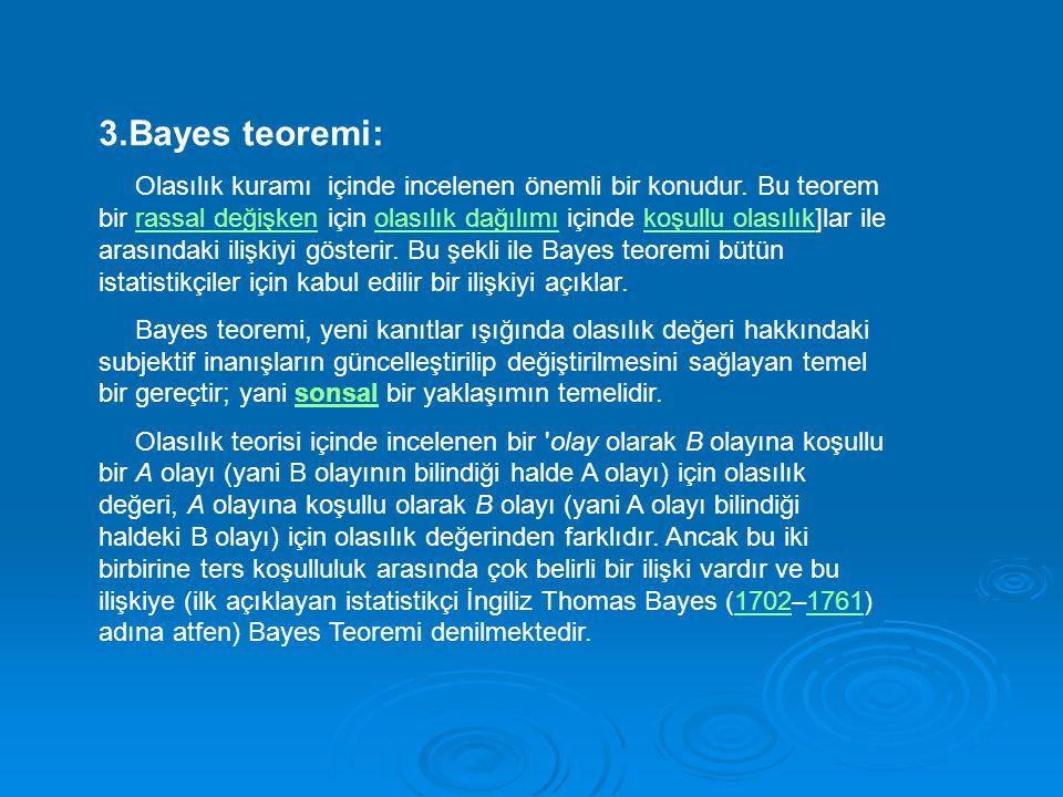 3.Bayes teoremi: Olasılık kuramı içinde incelenen önemli bir konudur. Bu teorem bir rassal değişken için olasılık dağılımı içinde koşullu olasılık]lar