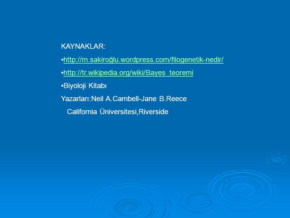 KAYNAKLAR: http://m.sakiroğlu.wordpress.com/filogenetik-nedir/ http://tr.wikipedia.org/wiki/Bayes_teoremi Biyoloji Kitabı Yazarları:Neil A.Cambell-Jan