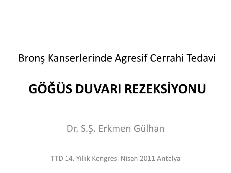 Bronş Kanserlerinde Agresif Cerrahi Tedavi GÖĞÜS DUVARI REZEKSİYONU Dr. S.Ş. Erkmen Gülhan TTD 14. Yıllık Kongresi Nisan 2011 Antalya