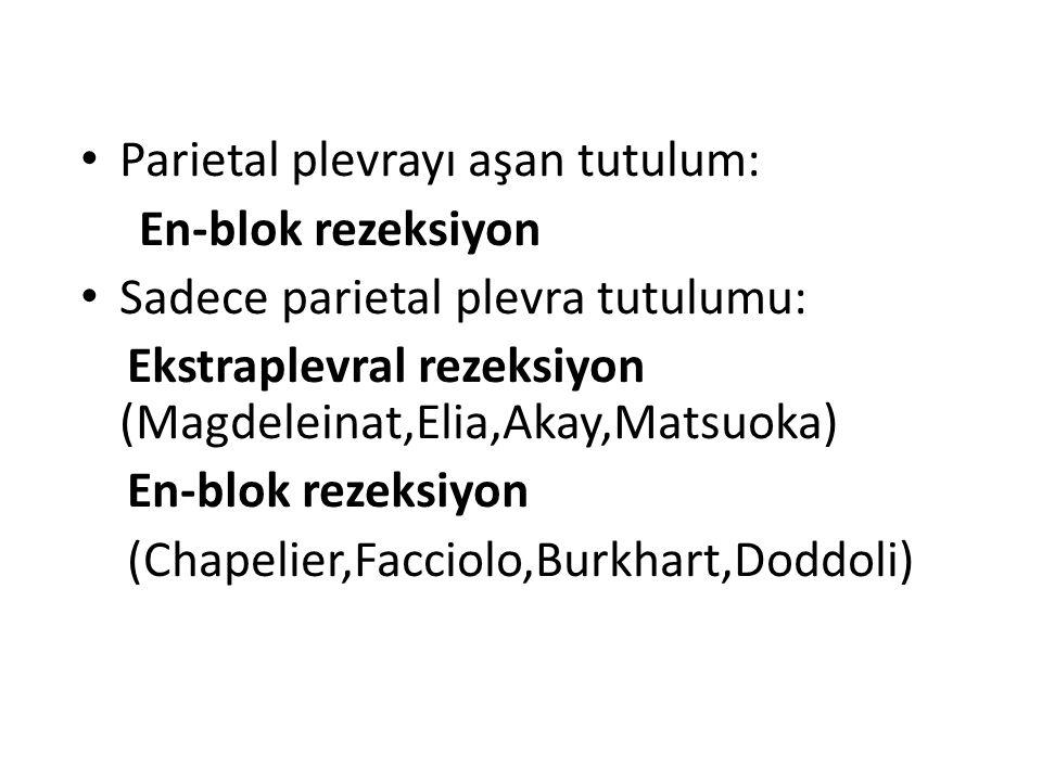 Parietal plevrayı aşan tutulum: En-blok rezeksiyon Sadece parietal plevra tutulumu: Ekstraplevral rezeksiyon (Magdeleinat,Elia,Akay,Matsuoka) En-blok