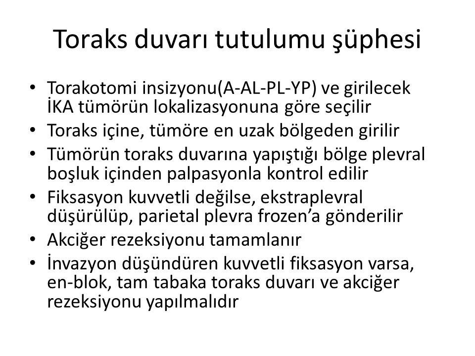 Toraks duvarı tutulumu şüphesi Torakotomi insizyonu(A-AL-PL-YP) ve girilecek İKA tümörün lokalizasyonuna göre seçilir Toraks içine, tümöre en uzak böl
