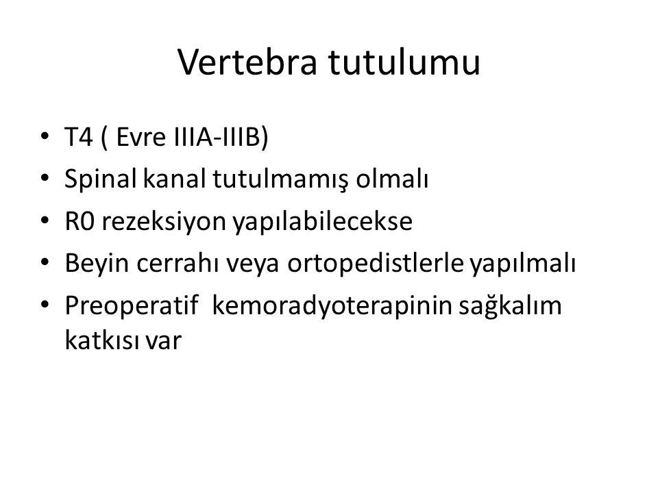 Vertebra tutulumu T4 ( Evre IIIA-IIIB) Spinal kanal tutulmamış olmalı R0 rezeksiyon yapılabilecekse Beyin cerrahı veya ortopedistlerle yapılmalı Preop