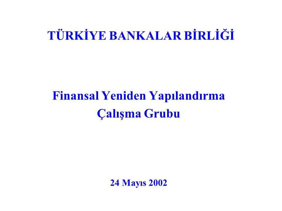 TÜRKİYE BANKALAR BİRLİĞİ Finansal Yeniden Yapılandırma Çalışma Grubu 24 Mayıs 2002