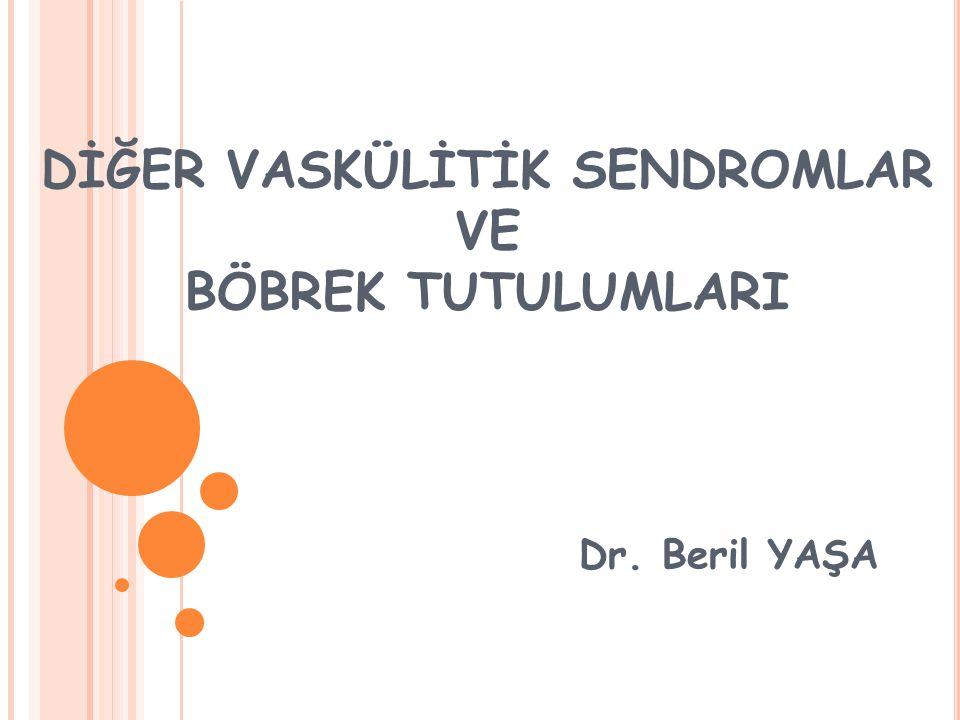 DİĞER VASKÜLİTİK SENDROMLAR VE BÖBREK TUTULUMLARI Dr. Beril YAŞA