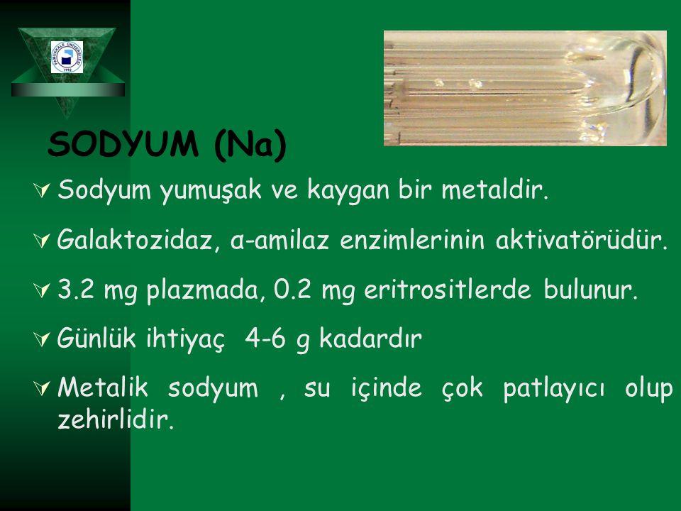 SODYUM (Na)  Sodyum yumuşak ve kaygan bir metaldir.  Galaktozidaz, α-amilaz enzimlerinin aktivatörüdür.  3.2 mg plazmada, 0.2 mg eritrositlerde bul