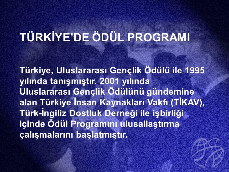 TÜRKİYE'DE ÖDÜL PROGRAMI Türkiye, Uluslararası Gençlik Ödülü ile 1995 yılında tanışmıştır.
