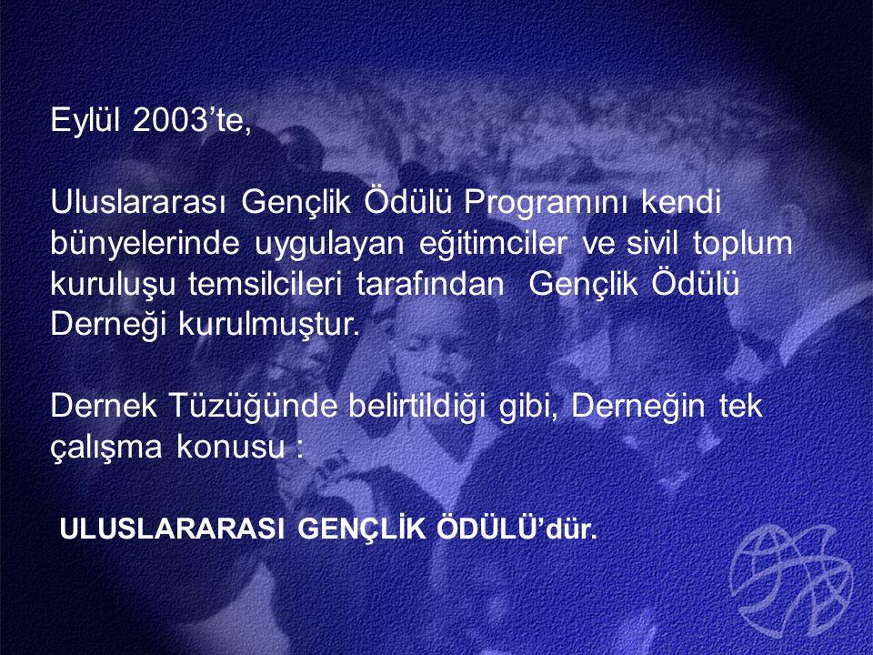 Eylül 2003'te, Uluslararası Gençlik Ödülü Programını kendi bünyelerinde uygulayan eğitimciler ve sivil toplum kuruluşu temsilcileri tarafından Gençlik Ödülü Derneği kurulmuştur.