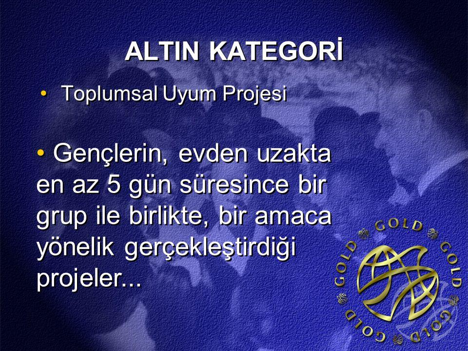 ALTIN KATEGORİ Toplumsal Uyum Projesi Gençlerin, evden uzakta en az 5 gün süresince bir grup ile birlikte, bir amaca yönelik gerçekleştirdiği projeler...