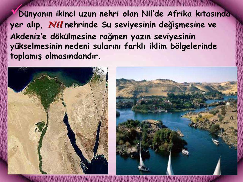 Nil Dünyanın ikinci uzun nehri olan Nil'de Afrika kıtasında yer alıp, Nil nehrinde Su seviyesinin değişmesine ve Akdeniz'e dökülmesine rağmen yazın seviyesinin yükselmesinin nedeni sularını farklı iklim bölgelerinde toplamış olmasındandır.