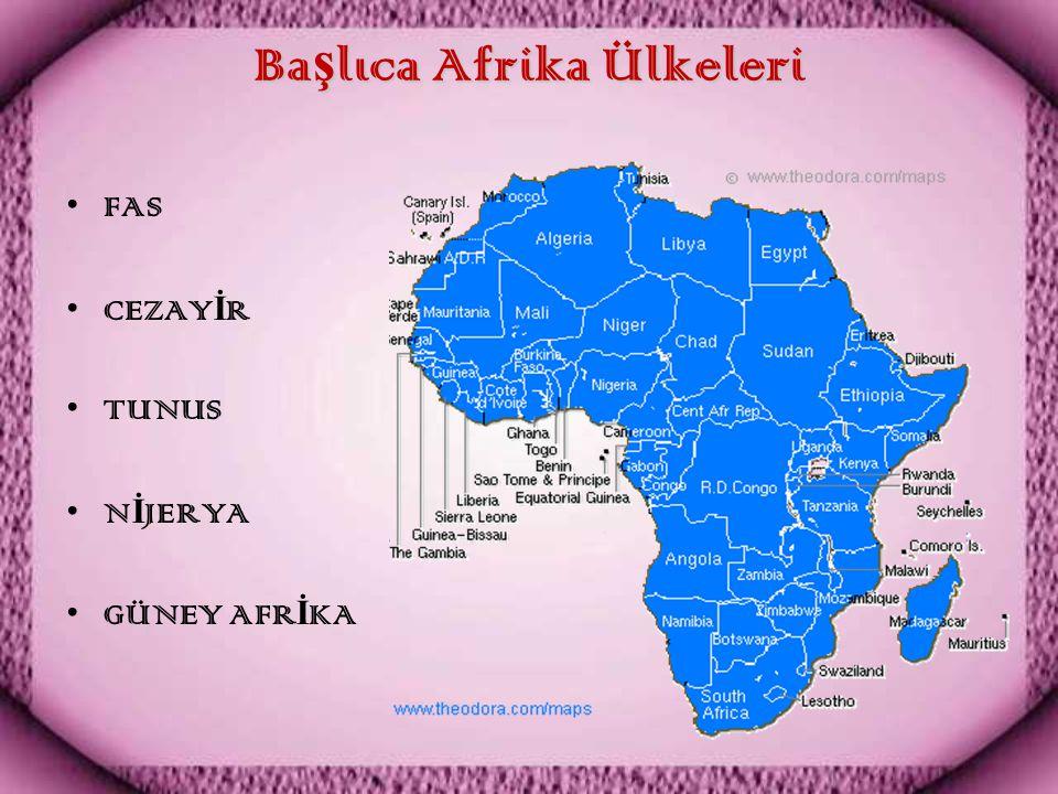 Ba ş lıca Afrika Ülkeleri FAS CEZAY İ R TUNUS N İ JERYA GÜNEY AFR İ KA