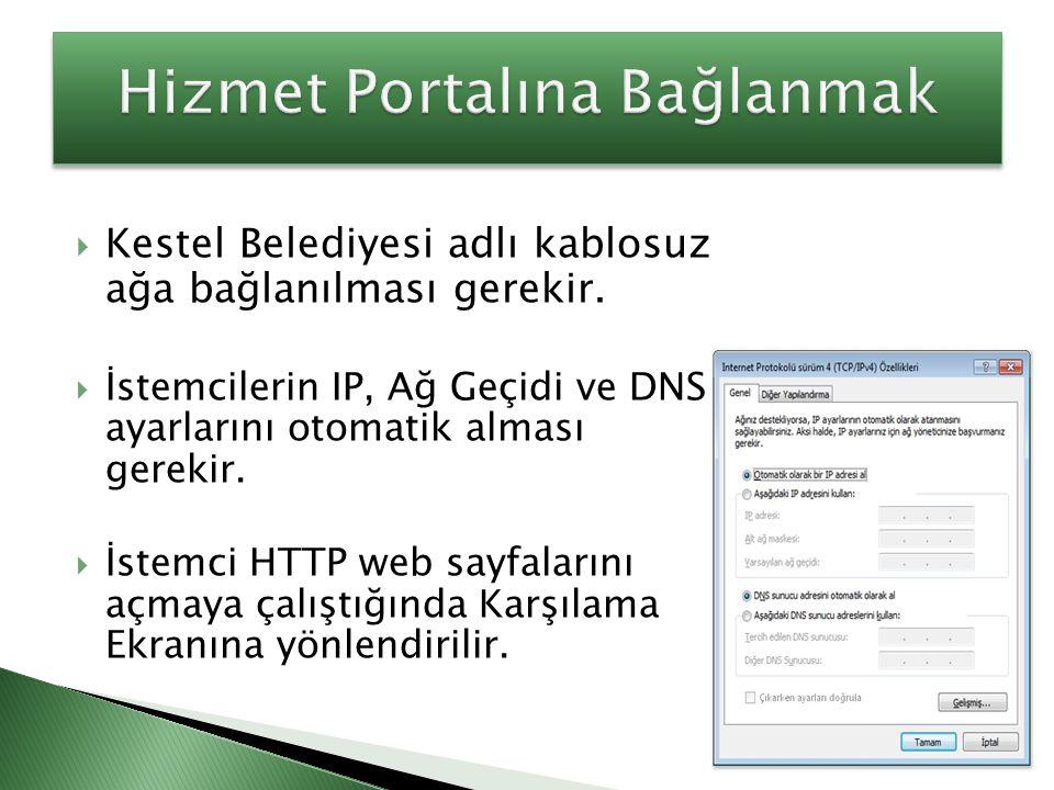  Kestel Belediyesi adlı kablosuz ağa bağlanılması gerekir.  İstemcilerin IP, Ağ Geçidi ve DNS ayarlarını otomatik alması gerekir.  İstemci HTTP web