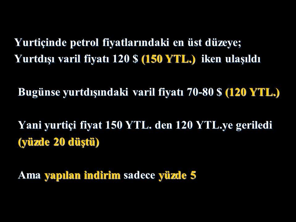 Yurtiçinde petrol fiyatlarındaki en üst düzeye; Yurtdışı varil fiyatı 120 $ (150 YTL.) iken ulaşıldı Bugünse yurtdışındaki varil fiyatı 70-80 $ (120 YTL.) Yani yurtiçi fiyat 150 YTL.