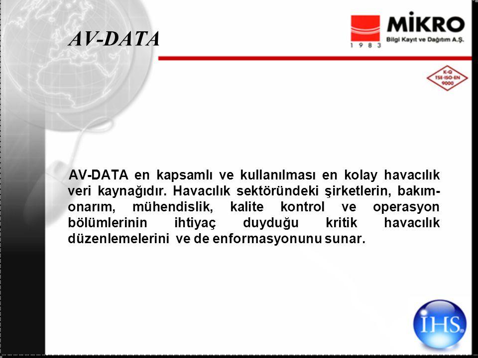 AV-DATA AV-DATA en kapsamlı ve kullanılması en kolay havacılık veri kaynağıdır.