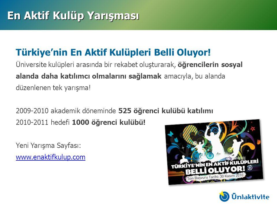 Türkiye'nin En Aktif Kulüpleri Belli Oluyor! Üniversite kulüpleri arasında bir rekabet oluşturarak, öğrencilerin sosyal alanda daha katılımcı olmaları