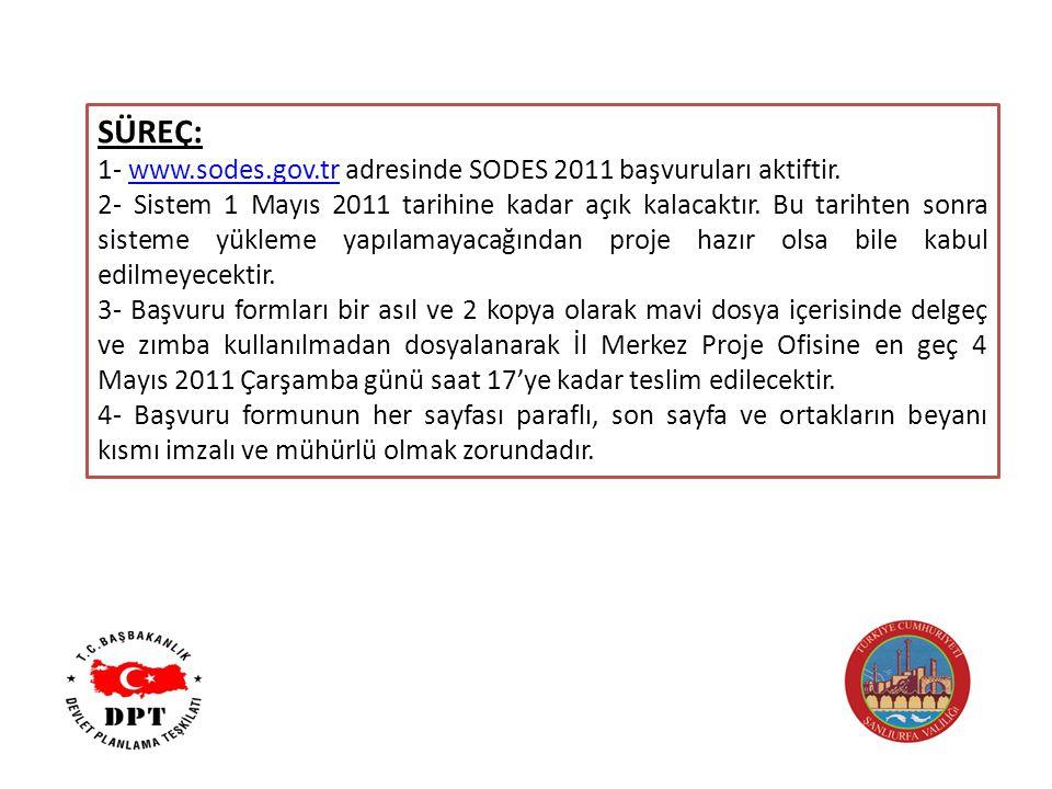 SÜREÇ: 1- www.sodes.gov.tr adresinde SODES 2011 başvuruları aktiftir.www.sodes.gov.tr 2- Sistem 1 Mayıs 2011 tarihine kadar açık kalacaktır.
