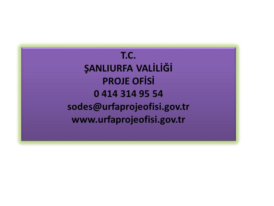 T.C. ŞANLIURFA VALİLİĞİ PROJE OFİSİ 0 414 314 95 54 sodes@urfaprojeofisi.gov.tr www.urfaprojeofisi.gov.tr T.C. ŞANLIURFA VALİLİĞİ PROJE OFİSİ 0 414 31