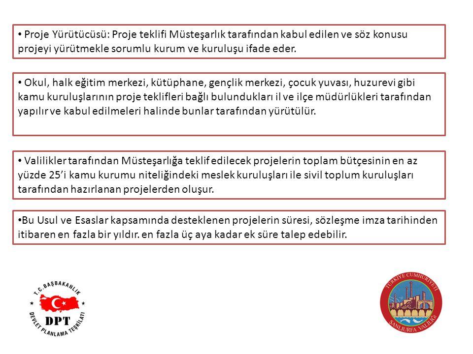Proje Yürütücüsü: Proje teklifi Müsteşarlık tarafından kabul edilen ve söz konusu projeyi yürütmekle sorumlu kurum ve kuruluşu ifade eder.