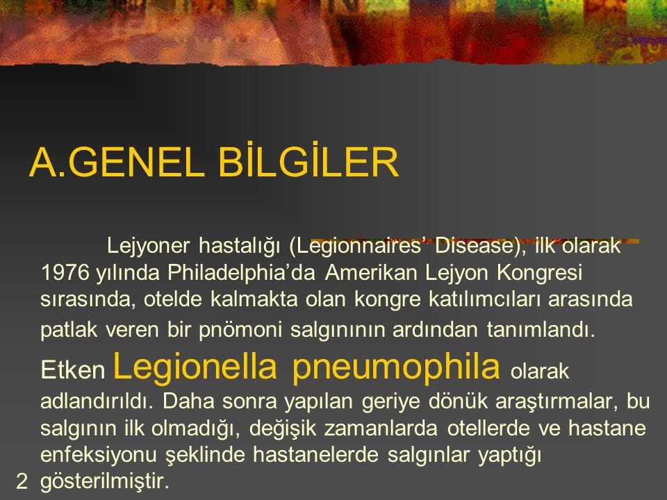 2 A.GENEL BİLGİLER Lejyoner hastalığı (Legionnaires' Disease), ilk olarak 1976 yılında Philadelphia'da Amerikan Lejyon Kongresi sırasında, otelde kalm