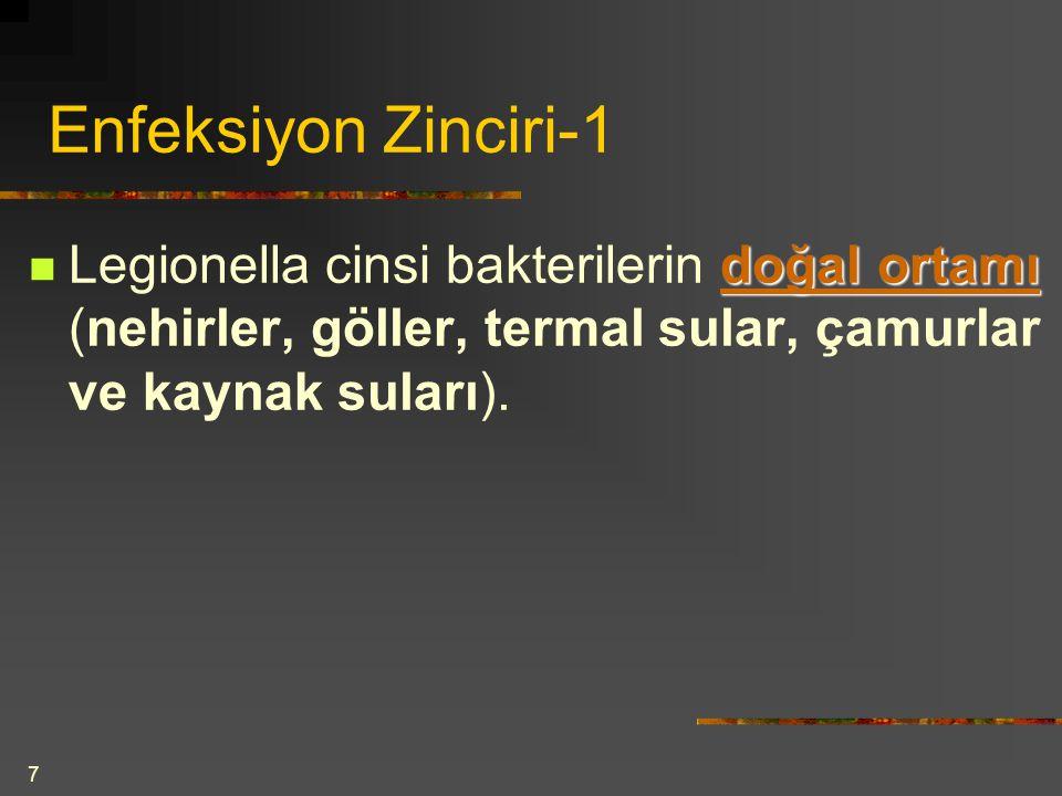 7 Enfeksiyon Zinciri-1 doğal ortamı Legionella cinsi bakterilerin doğal ortamı (nehirler, göller, termal sular, çamurlar ve kaynak suları).