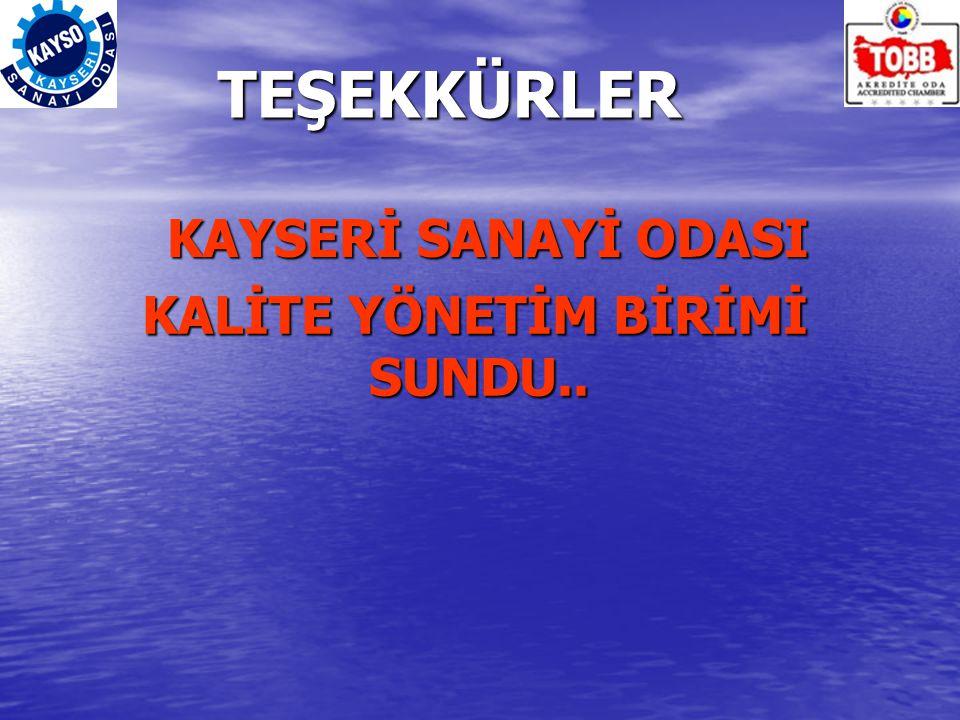 TEŞEKKÜRLER KAYSERİ SANAYİ ODASI KAYSERİ SANAYİ ODASI KALİTE YÖNETİM BİRİMİ SUNDU..