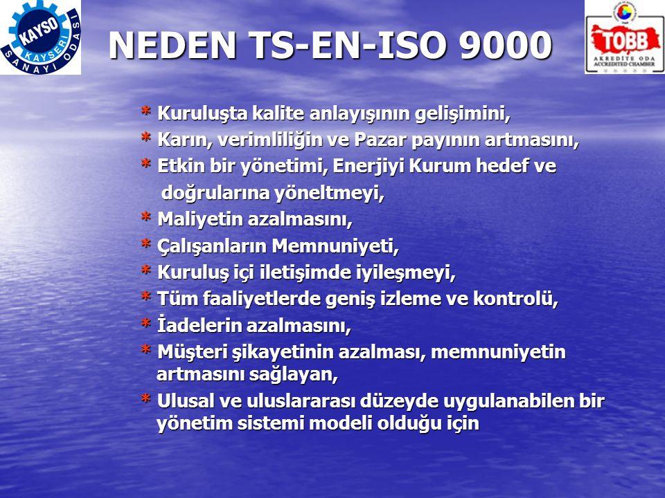 NEDEN TS-EN-ISO 9000 * Kuruluşta kalite anlayışının gelişimini, * Karın, verimliliğin ve Pazar payının artmasını, * Etkin bir yönetimi, Enerjiyi Kurum