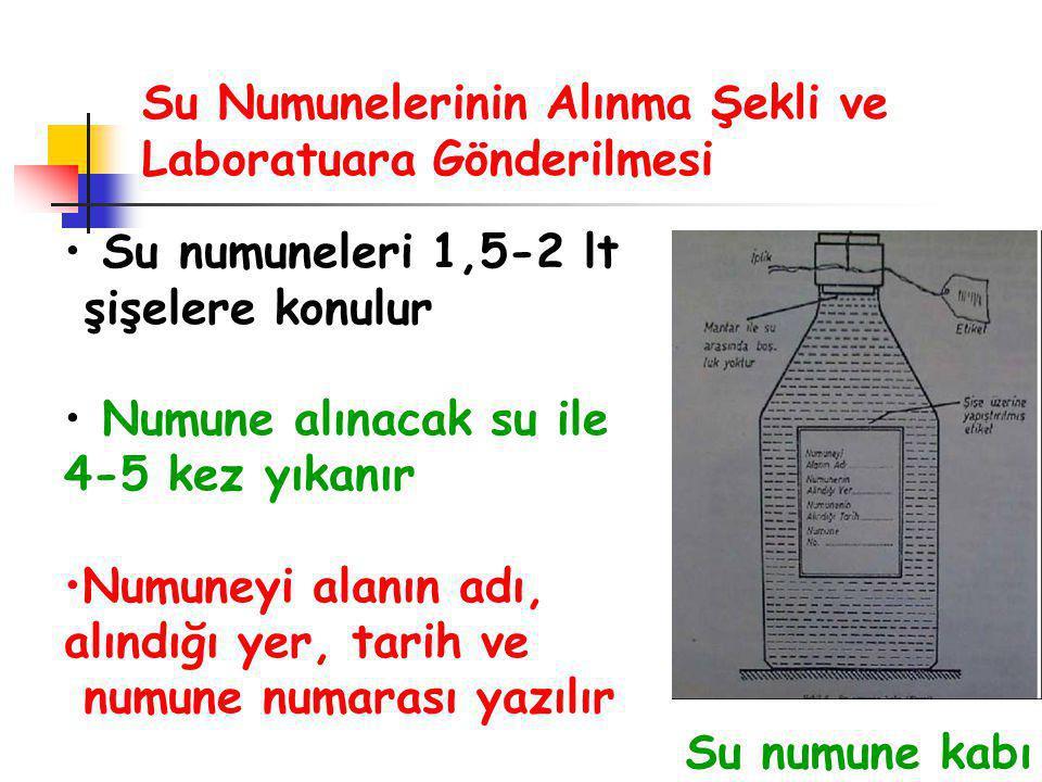 Su Numunelerinin Alınma Şekli ve Laboratuara Gönderilmesi Su numuneleri 1,5-2 lt şişelere konulur Numune alınacak su ile 4-5 kez yıkanır Numuneyi alanın adı, alındığı yer, tarih ve numune numarası yazılır Su numune kabı