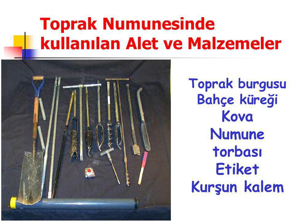 .. Toprak Numunesinde kullanılan Alet ve Malzemeler Toprak burgusu Bahçe küreği Kova Numune torbası Etiket Kurşun kalem