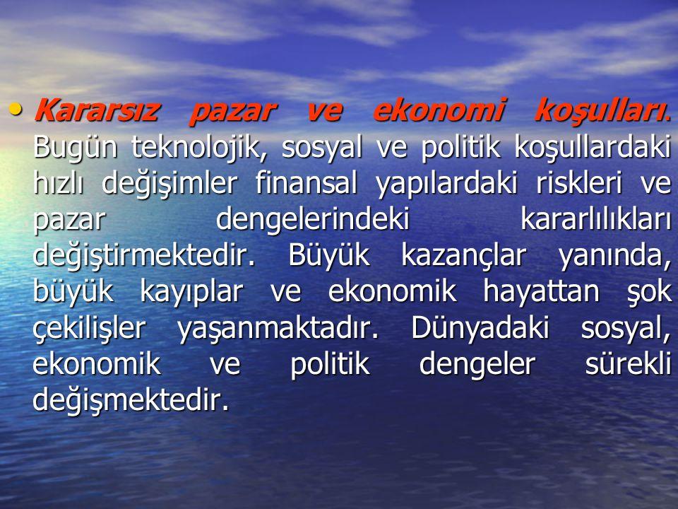 Kararsız pazar ve ekonomi koşulları.