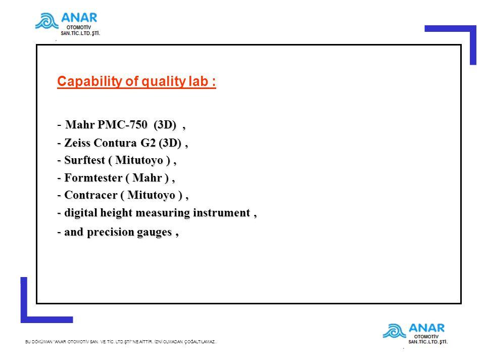 """5 BU DÖKÜMAN """"ANAR OTOMOTİV SAN. VE TİC. LTD.ŞTİ""""'NE AİTTİR. İZNİ OLMADAN ÇOĞALTILAMAZ.. Capability of quality lab : Mahr PMC-750 (3D), - Mahr PMC-750"""