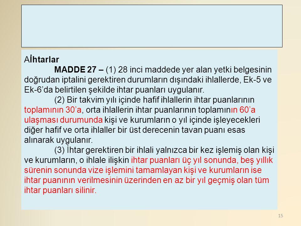 15 Aİhtarlar MADDE 27 – (1) 28 inci maddede yer alan yetki belgesinin doğrudan iptalini gerektiren durumların dışındaki ihlallerde, Ek-5 ve Ek-6'da be