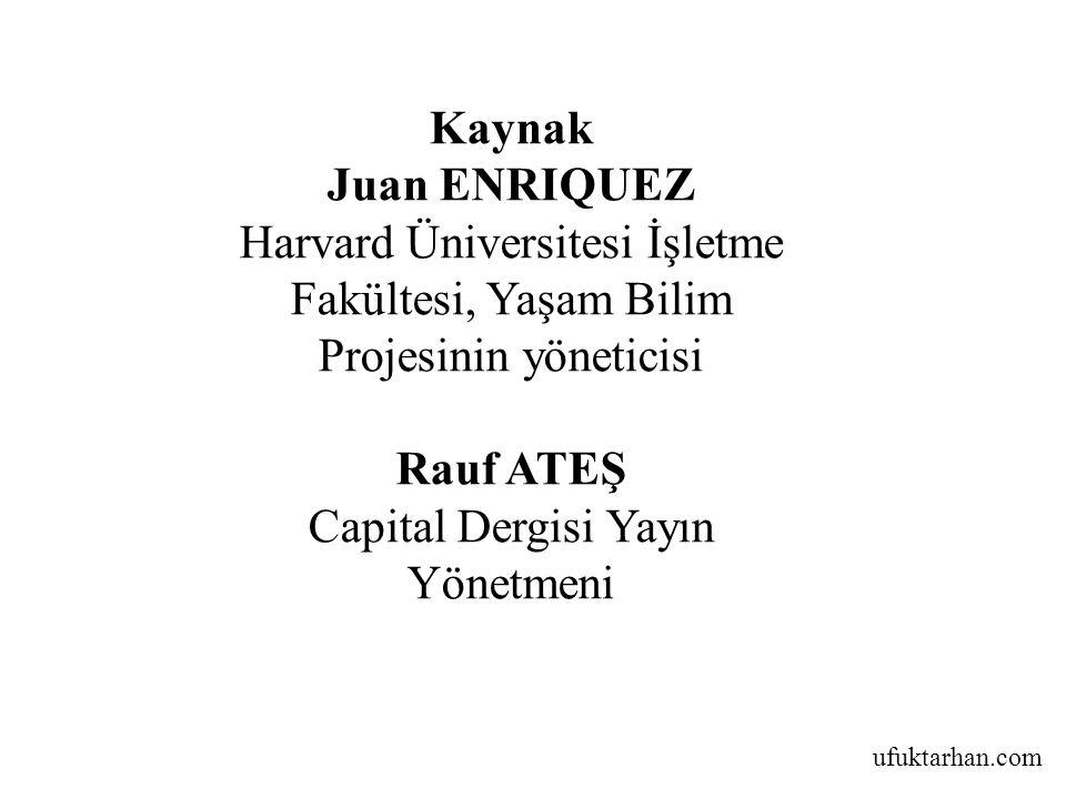 ufuktarhan.com Kaynak Juan ENRIQUEZ Harvard Üniversitesi İşletme Fakültesi, Yaşam Bilim Projesinin yöneticisi Rauf ATEŞ Capital Dergisi Yayın Yönetmeni