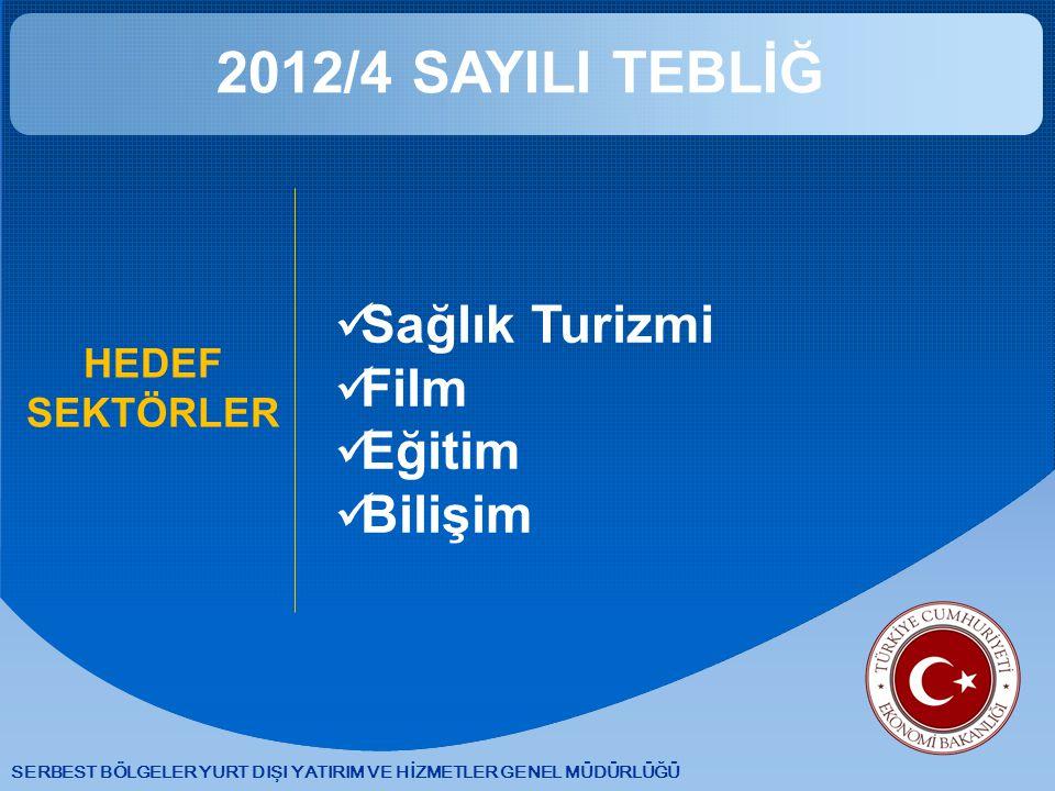 SERBEST BÖLGELER YURT DIŞI YATIRIM VE HİZMETLER GENEL MÜDÜRLÜĞÜ 2012/4 SAYILI TEBLİĞ HEDEF SEKTÖRLER Sağlık Turizmi Film Eğitim Bilişim