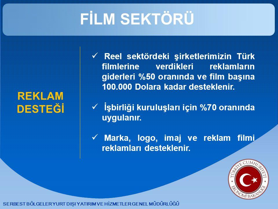 SERBEST BÖLGELER YURT DIŞI YATIRIM VE HİZMETLER GENEL MÜDÜRLÜĞÜ FİLM SEKTÖRÜ REKLAM DESTEĞİ Reel sektördeki şirketlerimizin Türk filmlerine verdikleri reklamların giderleri %50 oranında ve film başına 100.000 Dolara kadar desteklenir.