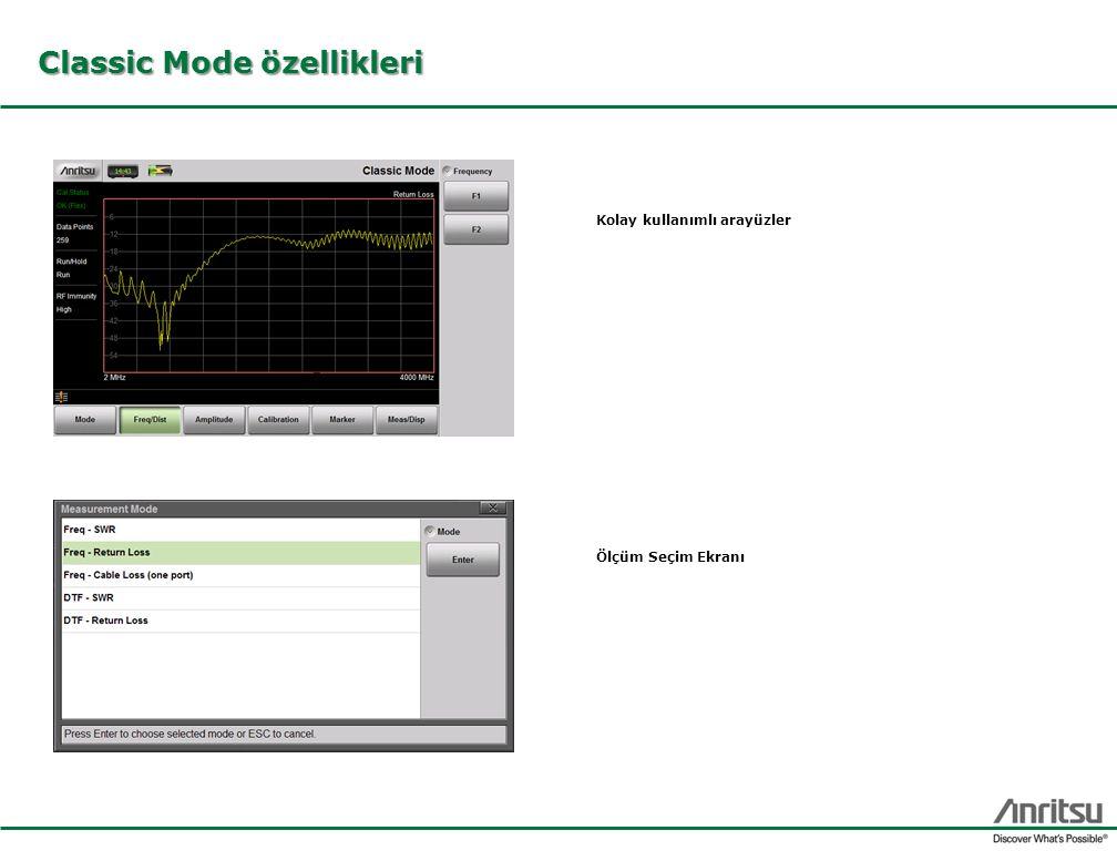 Classic Mode özellikleri Ölçüm Seçim Ekranı Kolay kullanımlı arayüzler