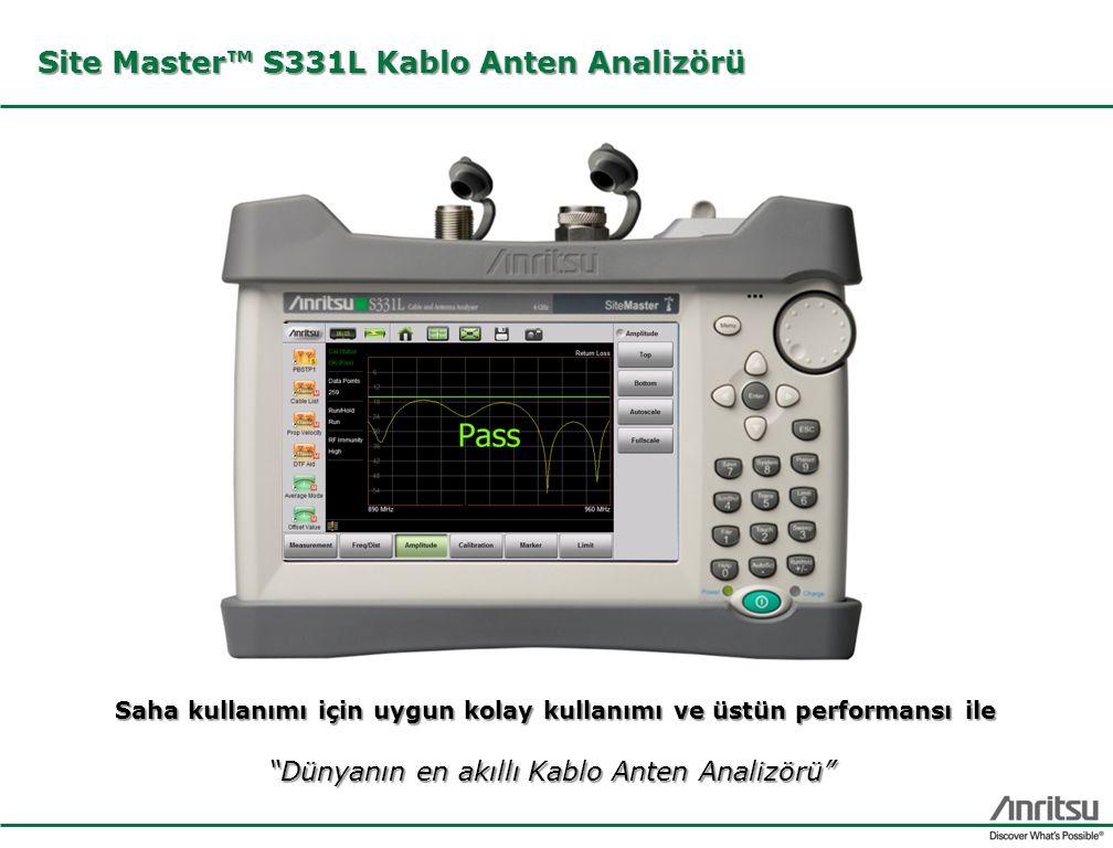 """Site Master™ S331L Kablo Anten Analizörü Saha kullanımı için uygun kolay kullanımı ve üstün performansı ile """"Dünyanın en akıllı Kablo Anten Analizörü"""""""