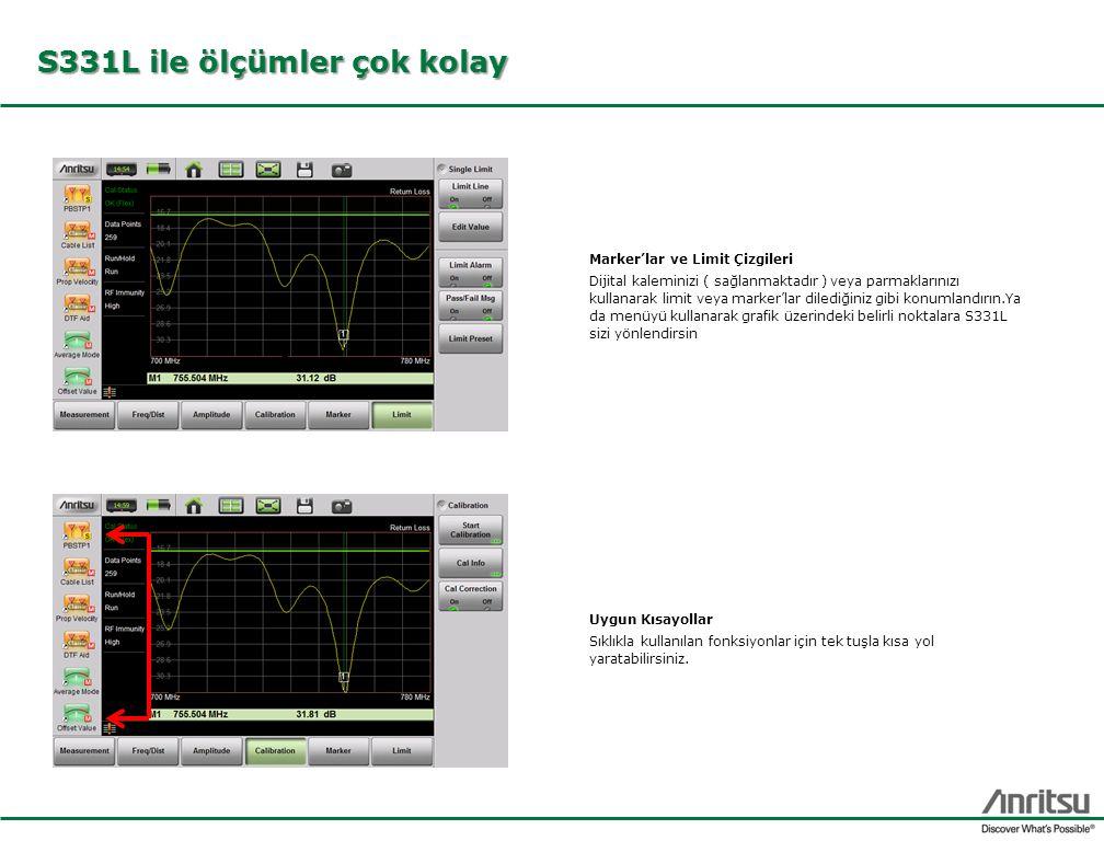 S331L ile ölçümler çok kolay Marker'lar ve Limit Çizgileri Dijital kaleminizi ( sağlanmaktadır ) veya parmaklarınızı kullanarak limit veya marker'lar