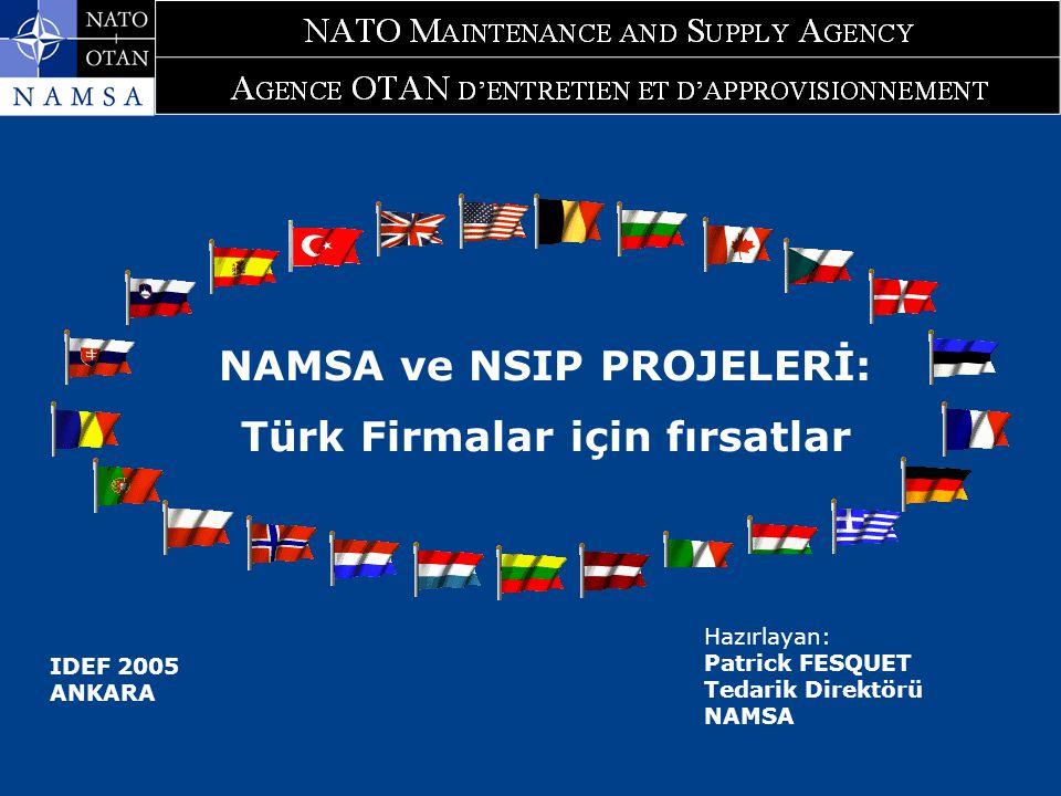 29 September 2005 NAMSA Procurement Directorate 2 Takdim Planı 1.Fırsatlar : NAMSA sözleşmelerinin Kapsamı 1.1NAMSA Programları Aracılığı İle Yapılan Sözleşmeler 1.2NATO Altyapı Sözleşmeleri 1.3Bazı istatistikler 2.Tedarik Prosedürleri 2.1NAMSO 251 No.lu Yönerge 2.2Prosedür AC/4-D/2261 (1996 yayımlı) 3.NAMSA İhalelerine Nasıl Davet Edilinir.