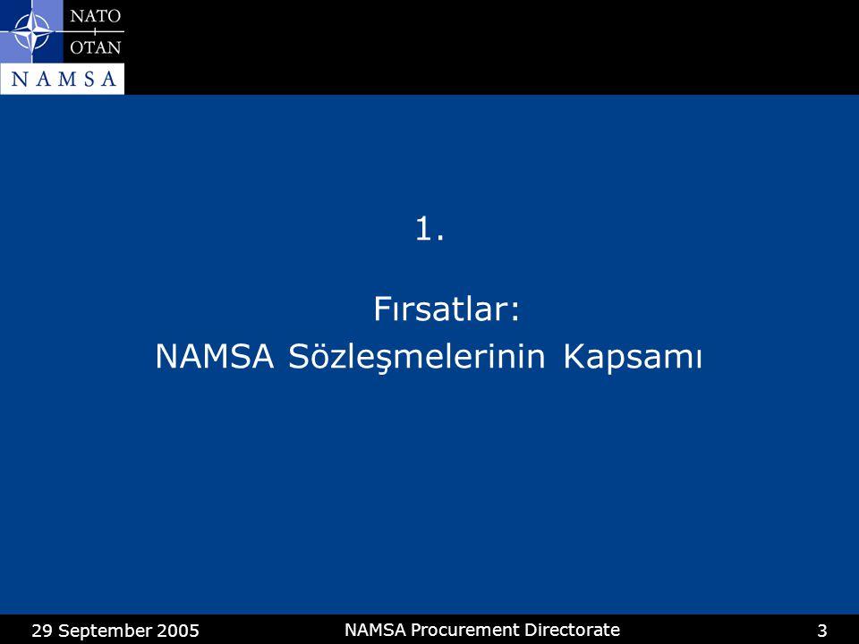 29 September 2005 NAMSA Procurement Directorate 4 1.1NAMSA Programları Aracılığı İle Yapılan Sözleşmeler Konuİlgili ProgramFinansman / Düşünceler Hava Savunma 49,6 M€ (2004) LEAskeri Bütçe Komitesi (MBC) Silah Sistemi Ortaklığı (WSP) Destek Konferansı (SC) Hava Taşıma Sistemleri LWMBC 101,6 M€ (2004) İletişim SistemleriLRMBC 41,5 M€ (2004) Deniz Kuvvetleri Sistemleri LUWSP, SC Elektro-Optik Sistemler LMWSP