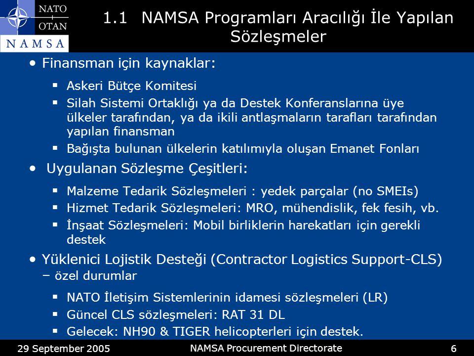 29 September 2005 NAMSA Procurement Directorate 7 1.1Bir Satış Anlaşmasına İstinaden Yapılan Sözleşmeler Program Dışı Alımlar(PDA) Satış Antlaşmaları: NATO ülkeleri ile ikili antlaşmalar Geniş çaplı tedarik, hizmet ve inşaat sözleşmeleri.