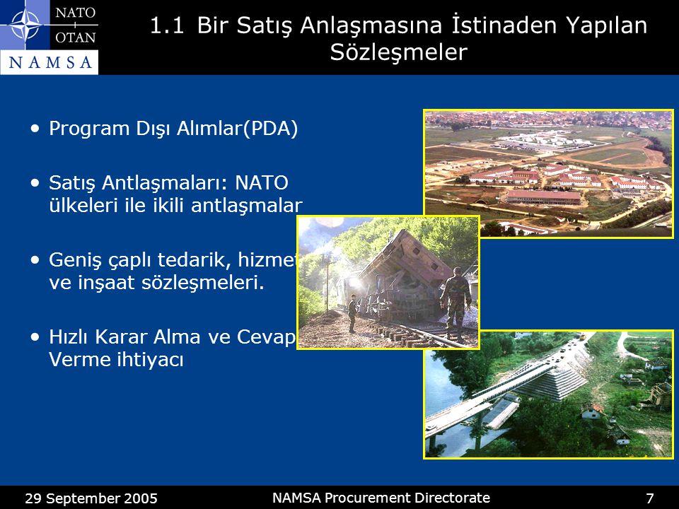 29 September 2005 NAMSA Procurement Directorate 18 3.