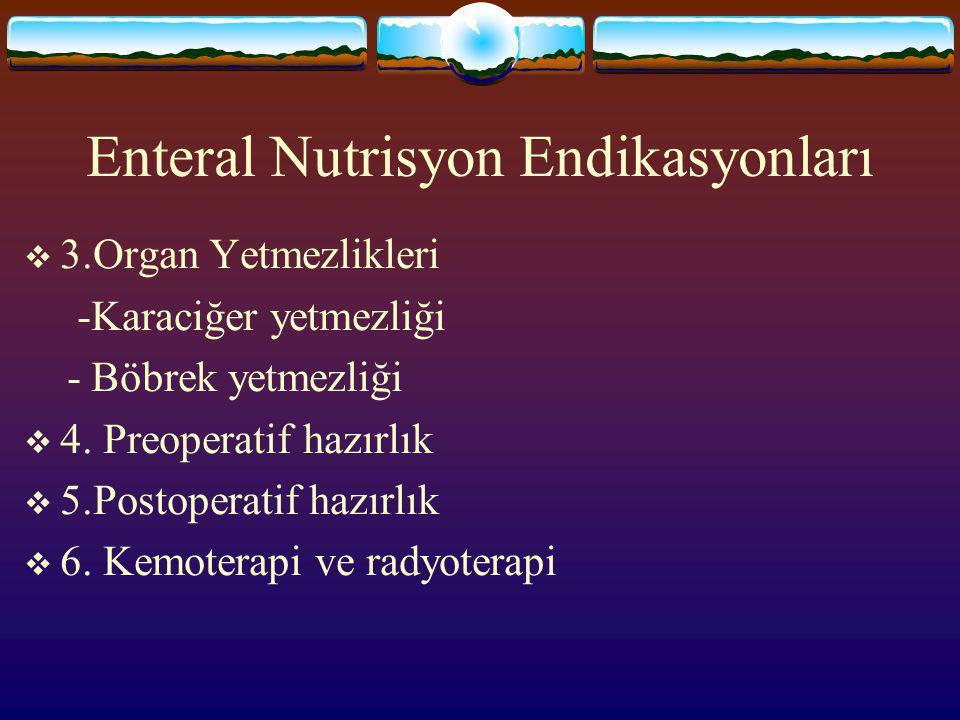 Enteral Nutrisyon Endikasyonları  2.GİS hastalıkları -Operasyon, kanser, striktür -Travma ve fraktürler -Fistüller -Kısa barsak sendromu -Kronik pank