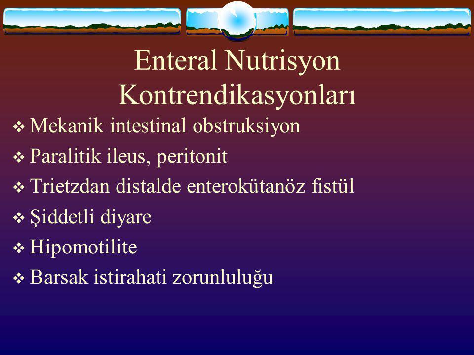 Enteral Nutrisyon Endikasyonları  3.Organ Yetmezlikleri -Karaciğer yetmezliği - Böbrek yetmezliği  4. Preoperatif hazırlık  5.Postoperatif hazırlık