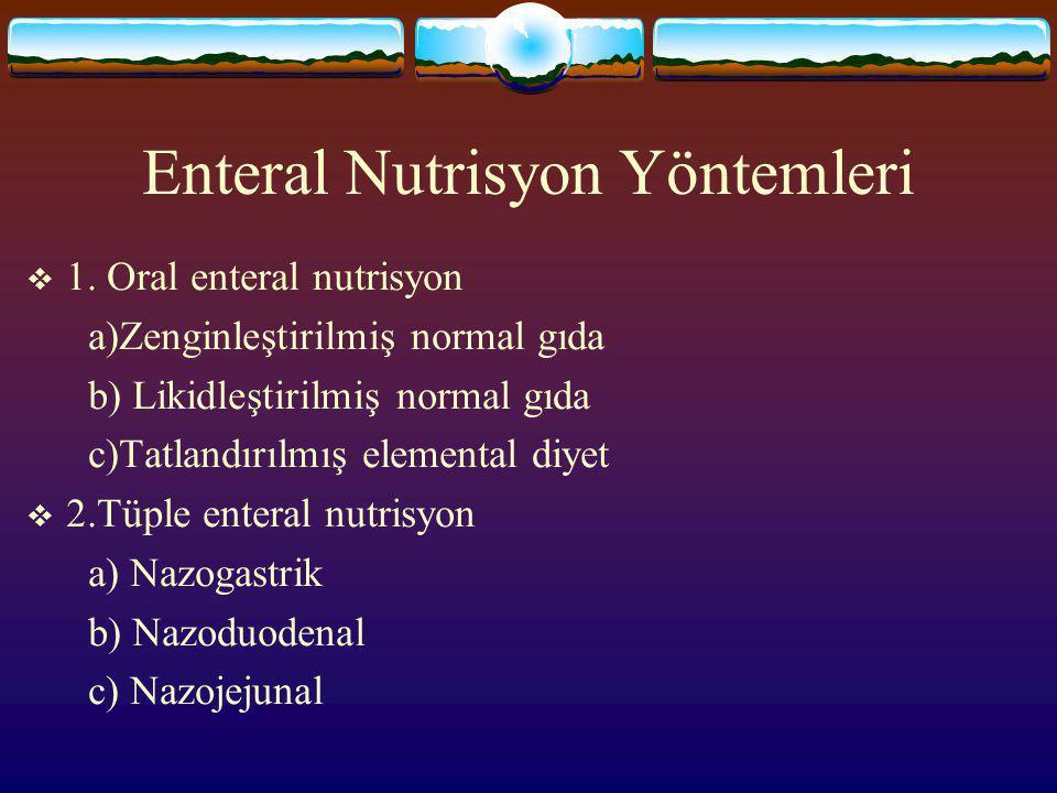 Enteral Nutrisyon Solusyonları HASTALIĞA ÖZEL Karaciğer yetm: düşük protein+ yüksek BCAA+ düşük AAA Respiratuvar yetm: düşük karbonhidrat+ yüksek lipi