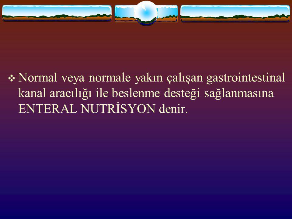 ENTERAL NUTRİSYON Dr. Hüseyin SURAT Sağlık Slayt Arşivi: http://hastaneciyiz.blogspot.com